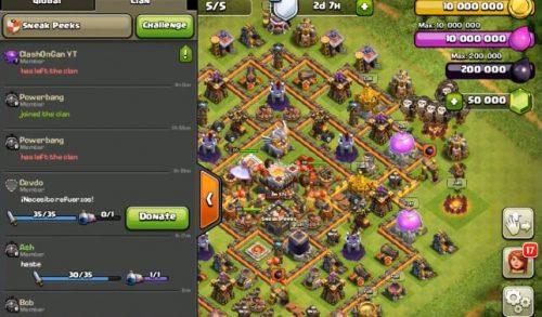 nuova schermata chat clash of clans