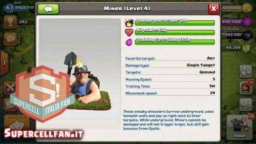 nuova truppa minatore clash of clans