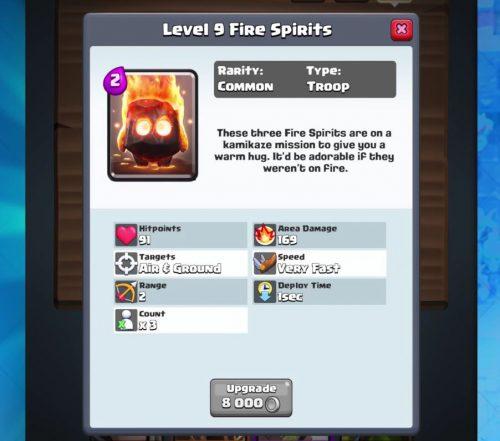 statistiche spiriti di fuoco clash royale
