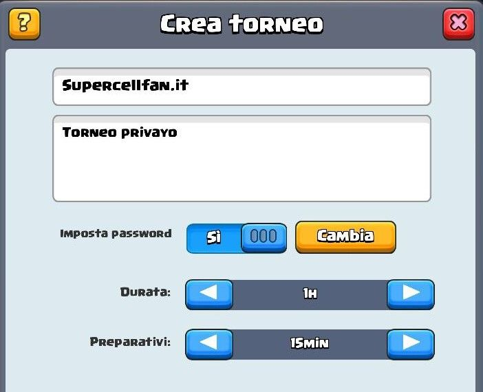cambiare password nei tornei di clash royale