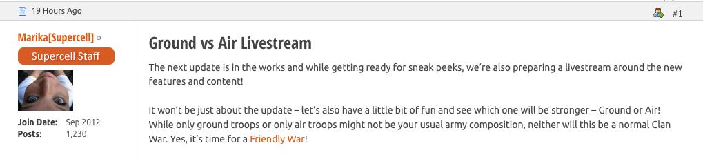 live stream clash of clans aggiornamento