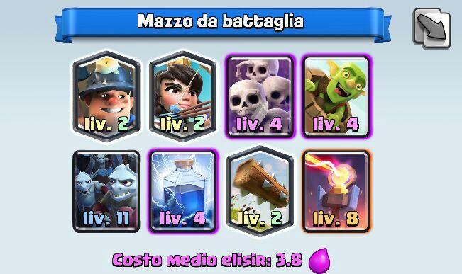 mazzo arena 7 con orda scheletri, minatore, principessa e barile goblin