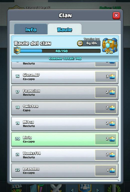 lista corone clash royale baule del clan
